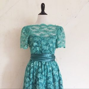 Vintage Turquoise Lace and Satin Dress
